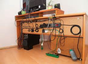 Corner Computer Desk With Cable Management Workspace Of The Week Inspiring Cord Management Unclutterer