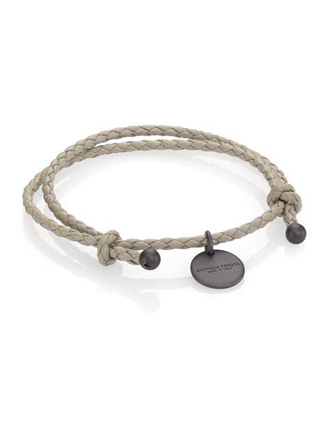 Bottega Bracelet bottega veneta intrecciato leather beaded thin wrap bracelet in gray sand lyst