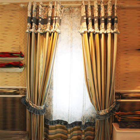 rustic multi color poly cotton floral striped curtains