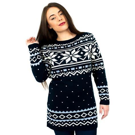 snowflake pattern christmas jumper c3101 ny ladies christmas jumper with snowflake pattern navy
