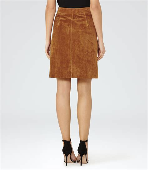 reiss joss suede a line skirt in brown lyst