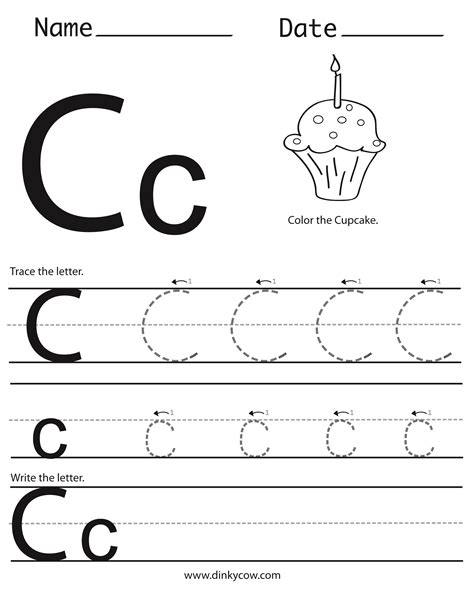 letter c tracing worksheets thedesigngrid