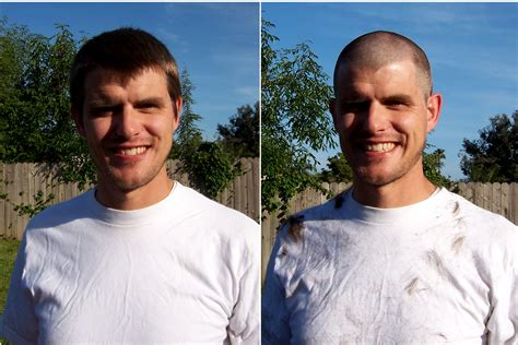 buzz haircut before and after balding buzz cut before and after short hairstyle 2013