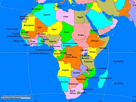 learn the map of africa easily by this africa continent political map a learning family