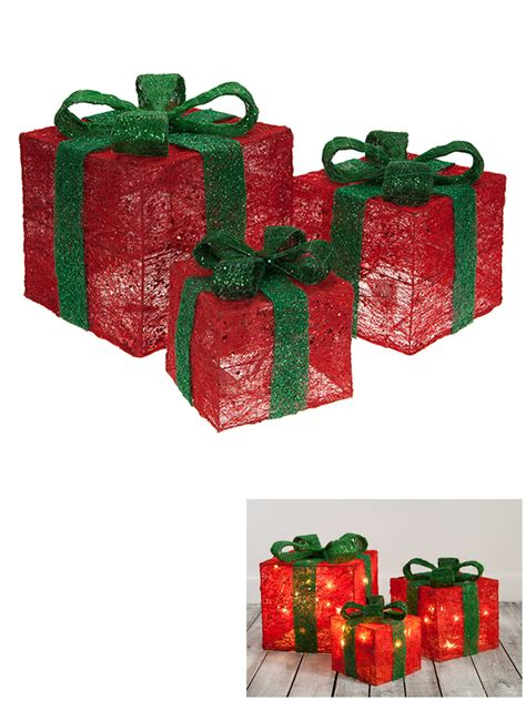 set of 3 led light up christmas present xmas gift box xmas