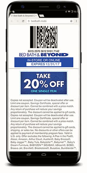 bed bath beyond coupon mobile bed bath beyond mobile coupons codebroker