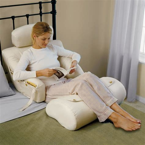 sit comfortably in bed the superior comfort bed lounger hammacher schlemmer