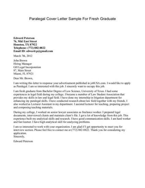 Paralegal Cover Letter Recent Graduate Cover Letter Tips In