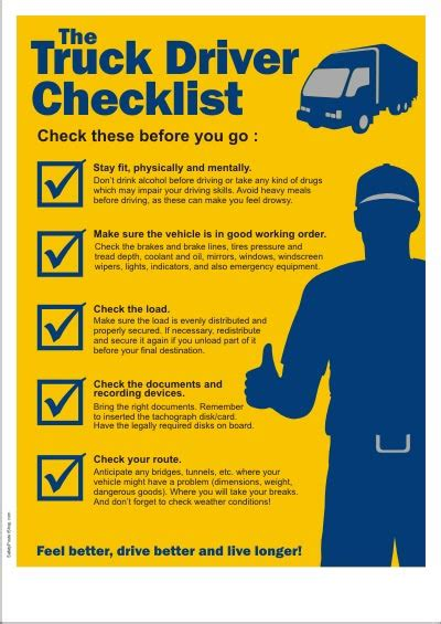 truck driver checklist safety tips for truck drivers