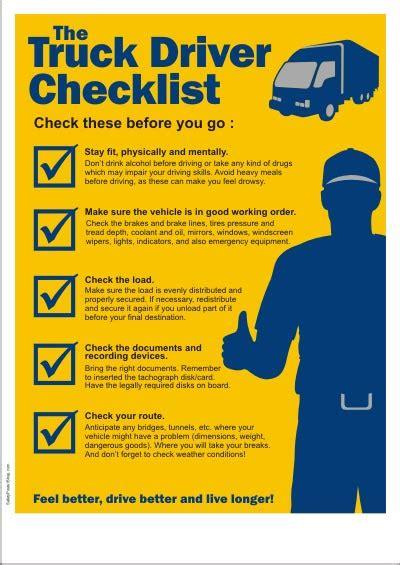 transportation safety poster  truck driver checklist