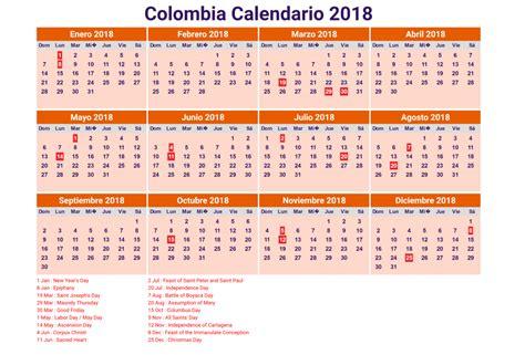 Calendario Uruguay 2018 Calendario 2018 Colombia Con Feriados Para Imprimir