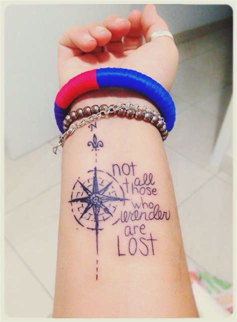 lost tattoos not all those who wander are lost compass for front of