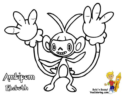 pokemon coloring pages aipom thumping pokemon printables shellos lumineon free