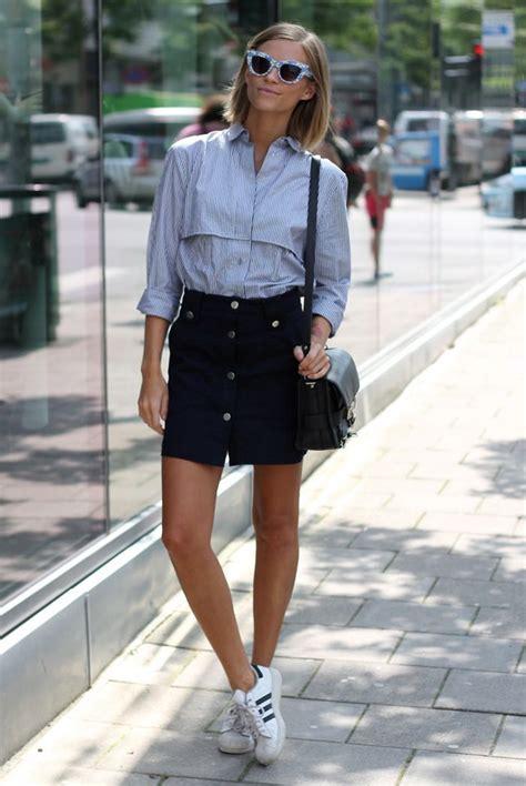 super chic ways  wear   skirts adidas