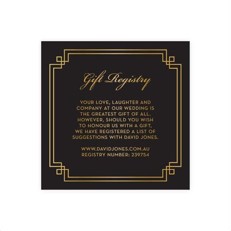 wedding gift registry cards templates gift card templates free premium templates