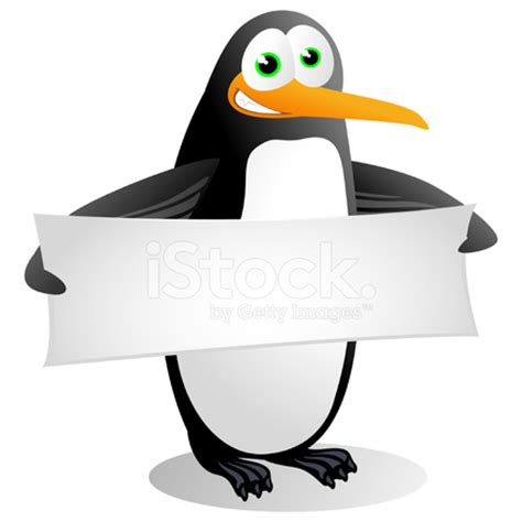 penguin holding a blank banner stock photos freeimages.com