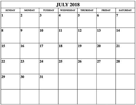 printable calendar july 2018 july 2018 calendar printable printable templates letter