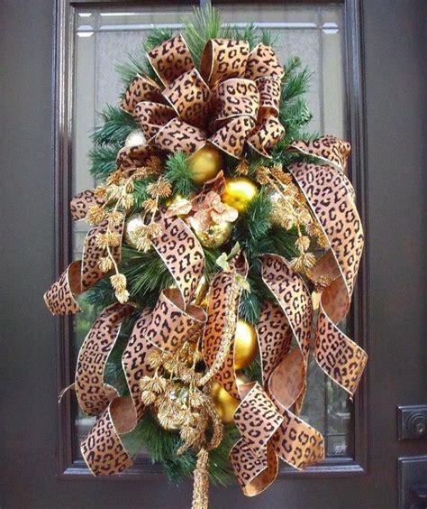 christmas swag flirty leopard christmas wreath teardrop