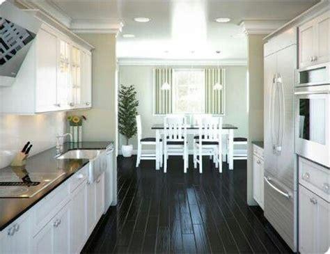 Galley Style Kitchen Remodel Ideas white kitchen black floor interior design