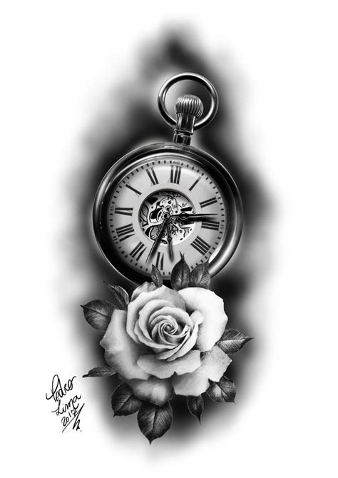 rosa e relogio roses and clock tattoo projects and