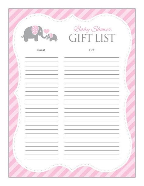 Baby Shower List Of Gifts Template by 24 Helpful Baby Shower Checklists Baby