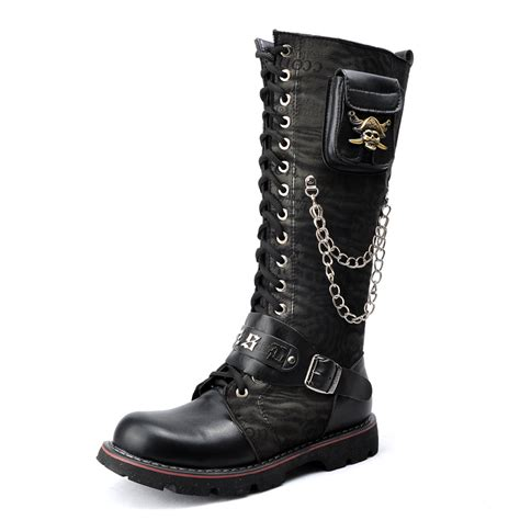 mens knee high boots shoes free shipping knee high shoes martin boots rock