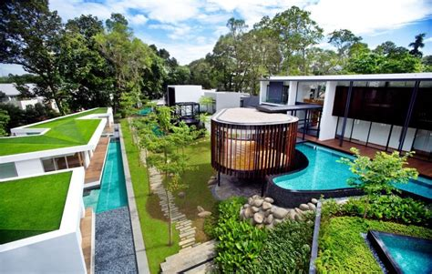 fresh home com modern house with curvilinear pavilion blending in with