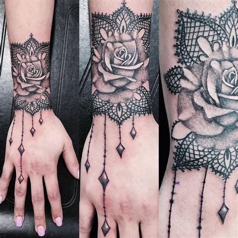 rose with lace tattoo lace design tats p