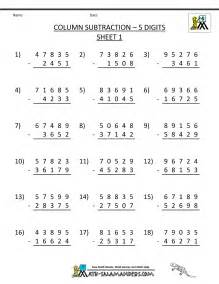5 digit subtraction worksheets