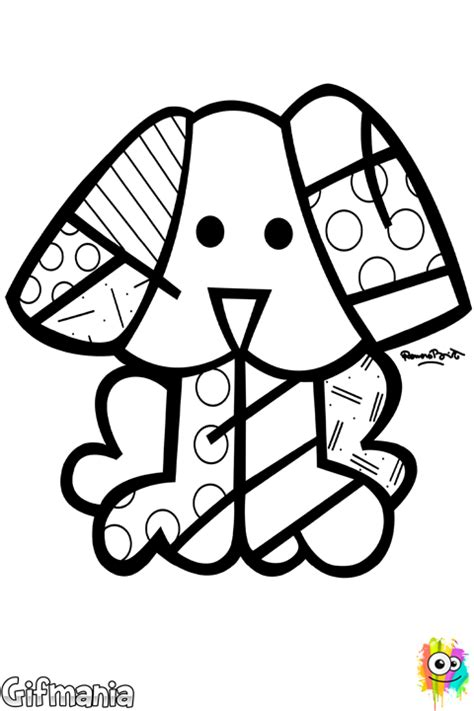 Britto Dog Coloring Page Romero Britto Coloring Pages