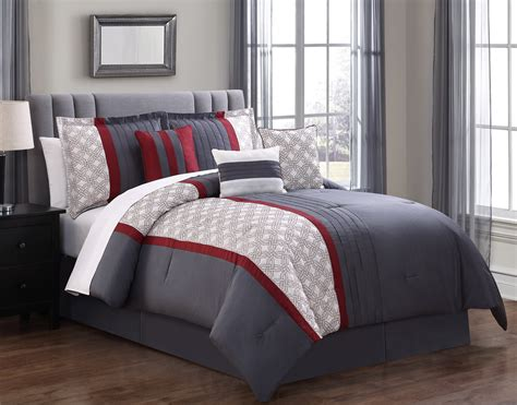red and gray comforter sets 7 piece mila red gray comforter set