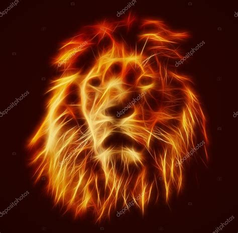 imagenes leones de fuego lion with fire flames fur stock photo 169 photocreo 63995461