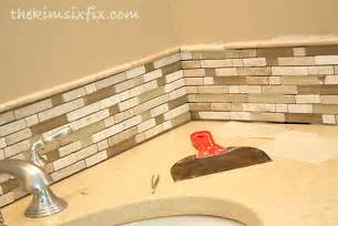 How To Install Backsplash Tile In Kitchen updating a vanity with a custom tile backsplash the kim