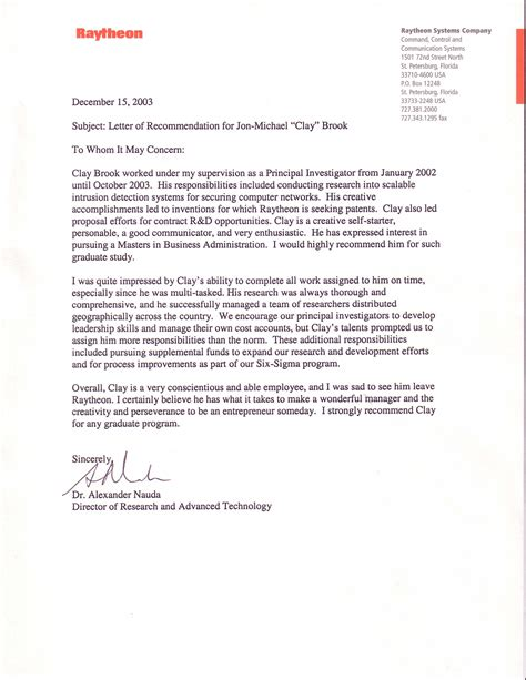 Research Recommendation Letter Al Nauda Recommendation For Jon Michael C Brook