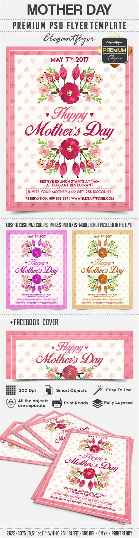 mothers day card psd template flyer for day by elegantflyer