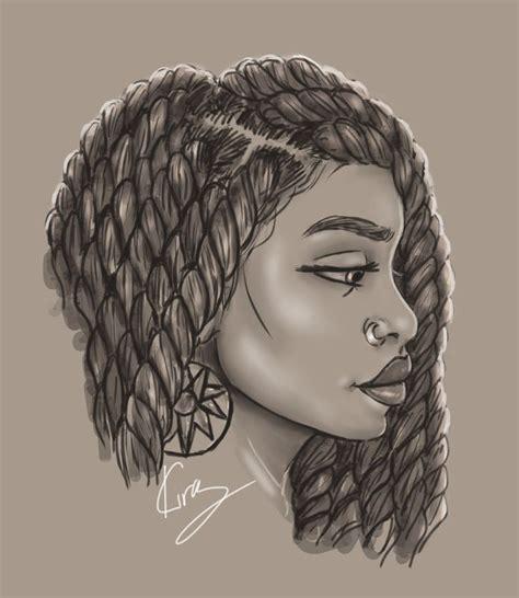 drawing of bob hair drawn braid curly hair pencil and in color drawn braid