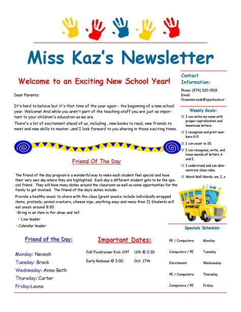 Parent Letter Template Back To School Kindergarten Newsletters