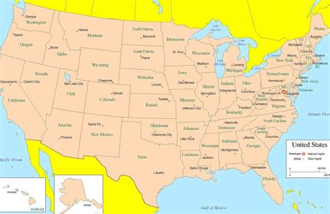 map of united states with states and capitals map of state capitals maps of united states and capitals
