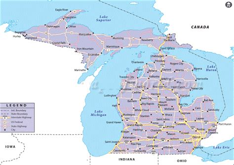 map of cities in michigan map of michigan state map of usa