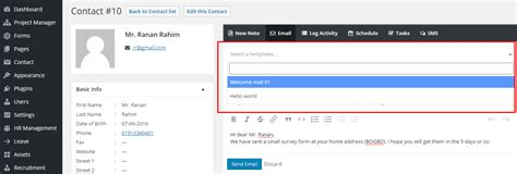crm email templates settings