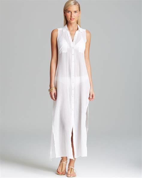 dress cover up ondademar hues maxi dress swim cover up in white lyst
