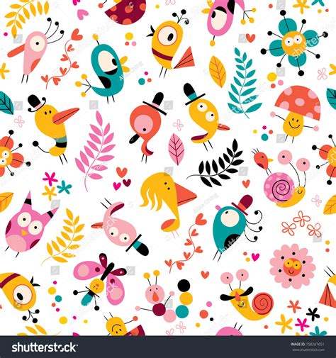 html pattern for characters flowers birds mushrooms snails characters nature stock