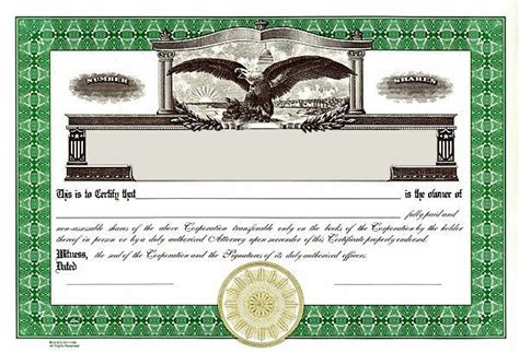 corporate stock certificate template best photos of printable blank stock certificate