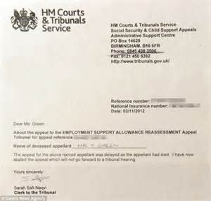 Support Letter For Department Of Housing Disabled Told He Couldn T Appeal Move To Scrap His Benefits Because He Was Dead