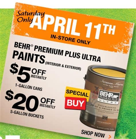 when is home depot paint sale home depot save instantly on behr paint today only