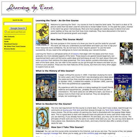 learning the tarot a learning the tarot an on line course pearltrees