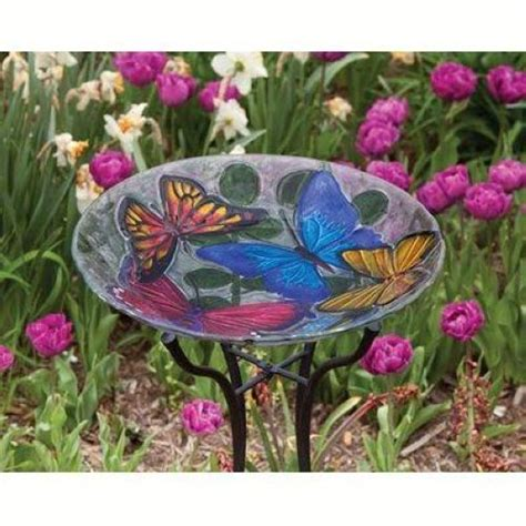 evergreen bird bath butterfly collage glass birdbath