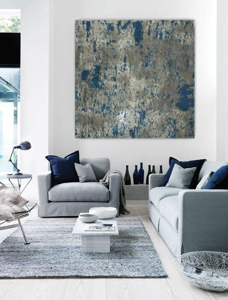 Living Room Decor Grey And Blue Large Abstract Painting Teal Blue Navy Grey Gray White