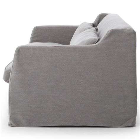 Stratus Modern Classic Pewter Grey Linen Slipcover Sofa Grey Sofa Slipcover