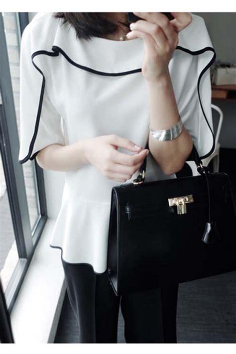 Ftn Blouse Wanita Twiscont Hitam Dan Putih Kotak Sabrina Ro blouse wanita putih hitam modis jual model terbaru murah